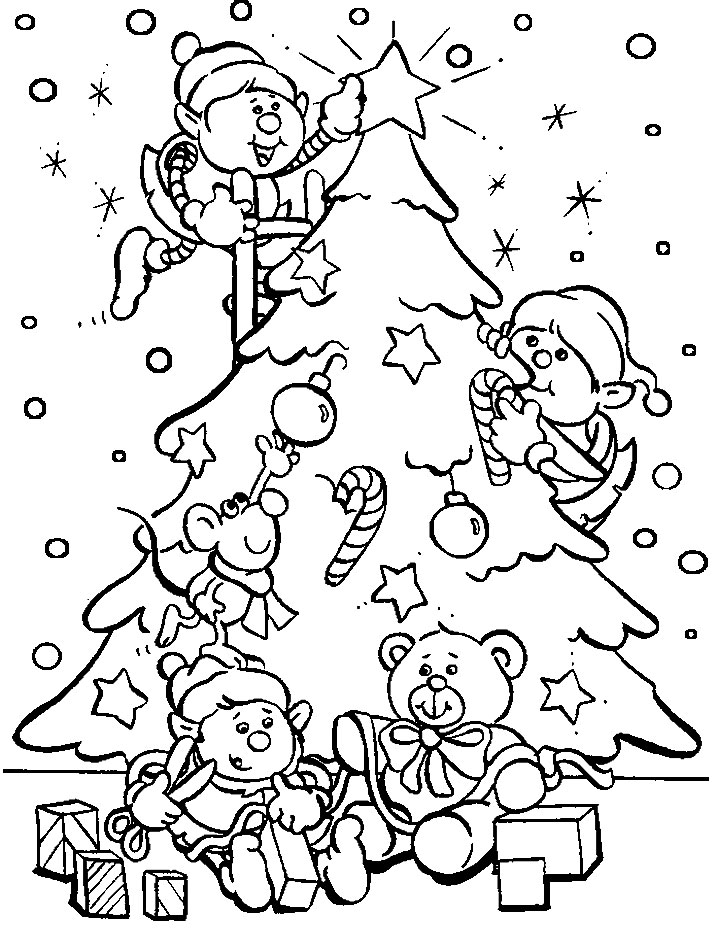 Из мультиков, эльф наряжают елку Зимние раскраски для мальчиков