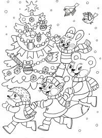 Из мультиков, животные ведут хоровод вокгруг елки Детские раскраски зима распечатать