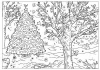 Наряженная елочка в лесу Раскраски на тему зима