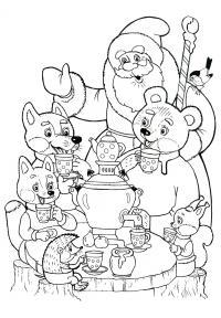 Чай питие с дедом морозом Зимние раскраски для мальчиков