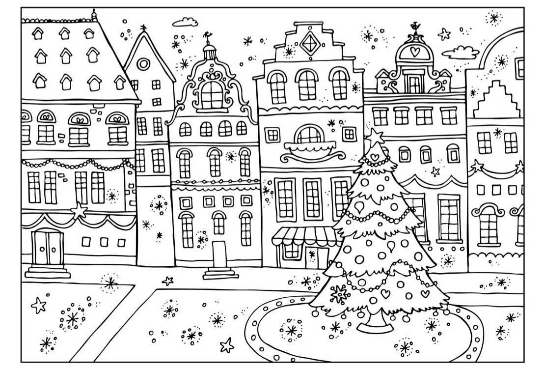 Плакаты, город встречает новый год Раскраски на тему зима