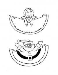 Ангел и дед морогз для украшений Детские раскраски зима распечатать