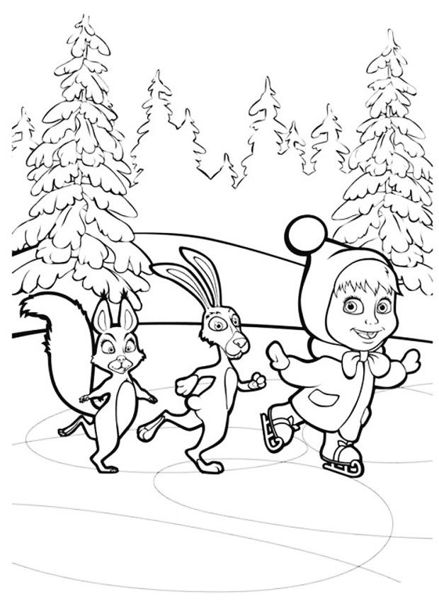Маша с зайцем и белкой катаются на коньках на речке Детские раскраски зима распечатать