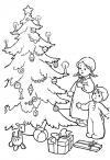 Зима, дети у новогодней елки Зимние раскраски для девочек