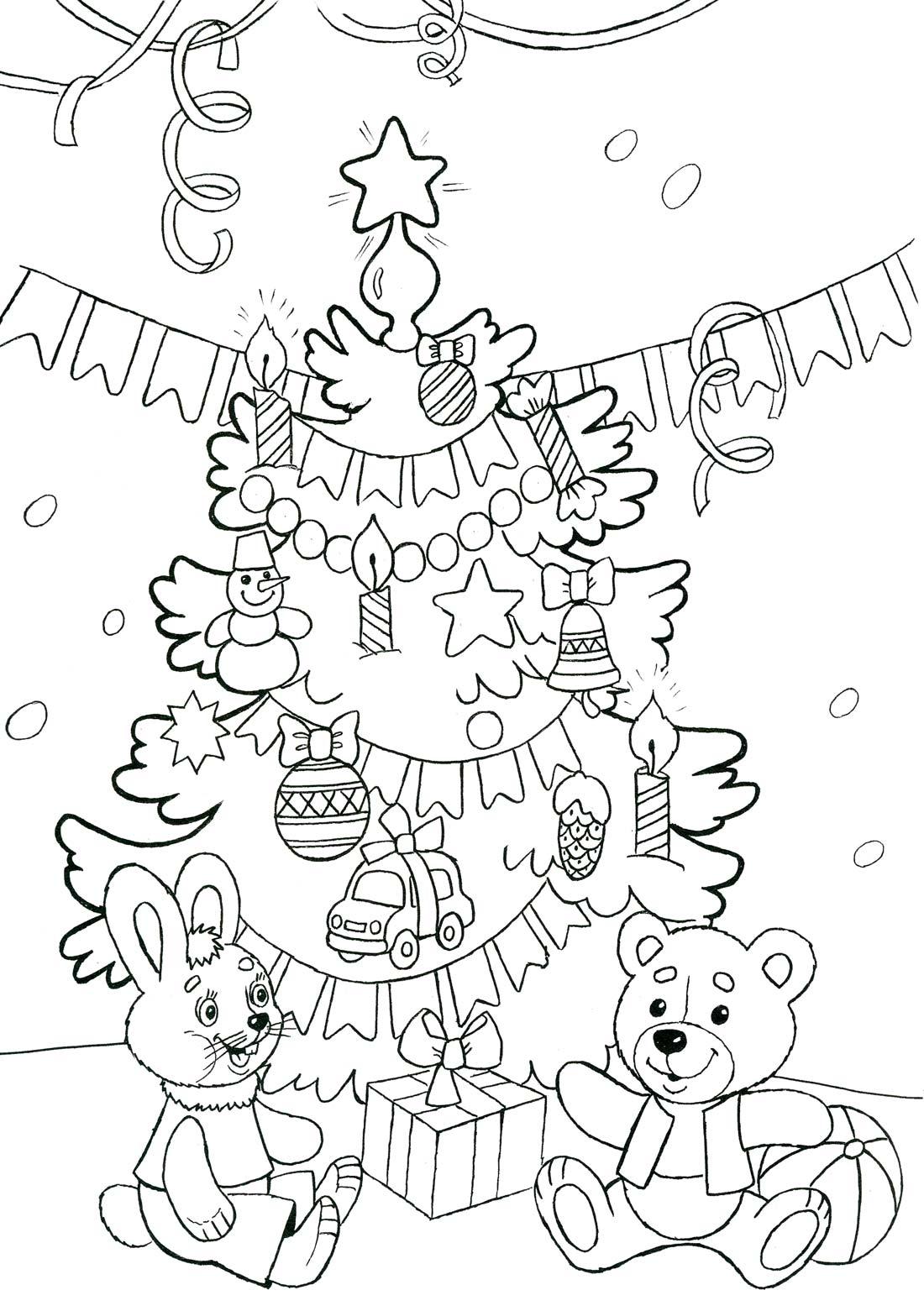 Новый год, зайка и мишка в подарок Раскраски на тему зима