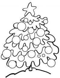 Новый год, пышная елка украшенная шароми и звездой на макушке Раскраски на тему зима