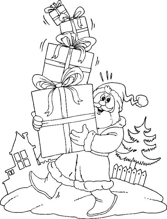 Новый год, дед мороз несет подарки Детские раскраски зима распечатать