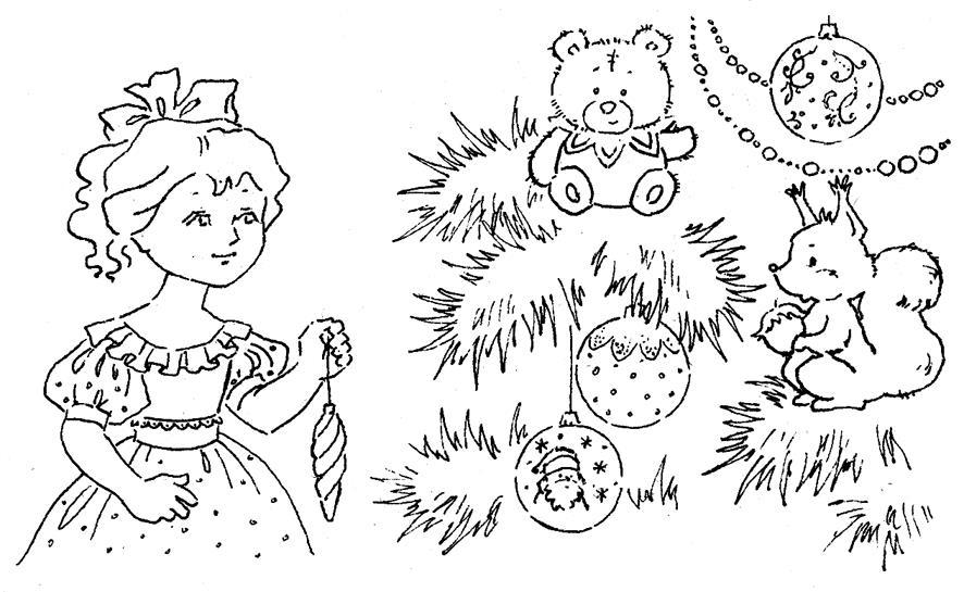Новый год, девочка украшает елку Детские раскраски зима распечатать