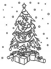 Новый год, замерзшая елочка под снегом с подарками Раскраски на тему зима