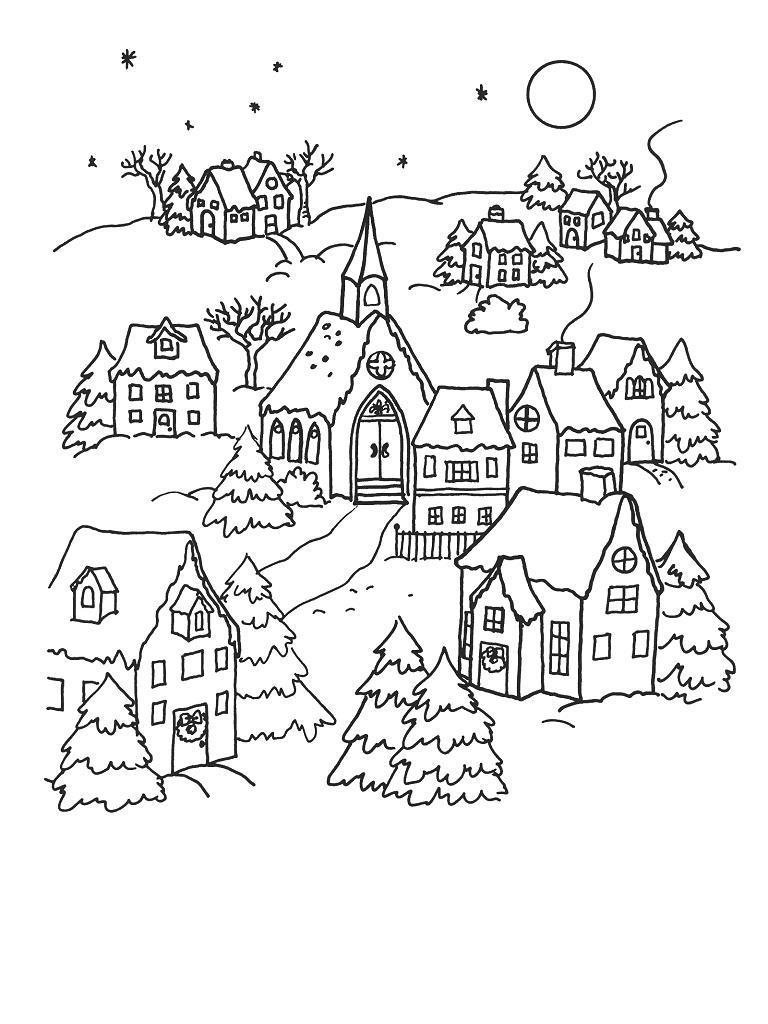 Новый год, ночь перед рождеством Детские раскраски зима распечатать