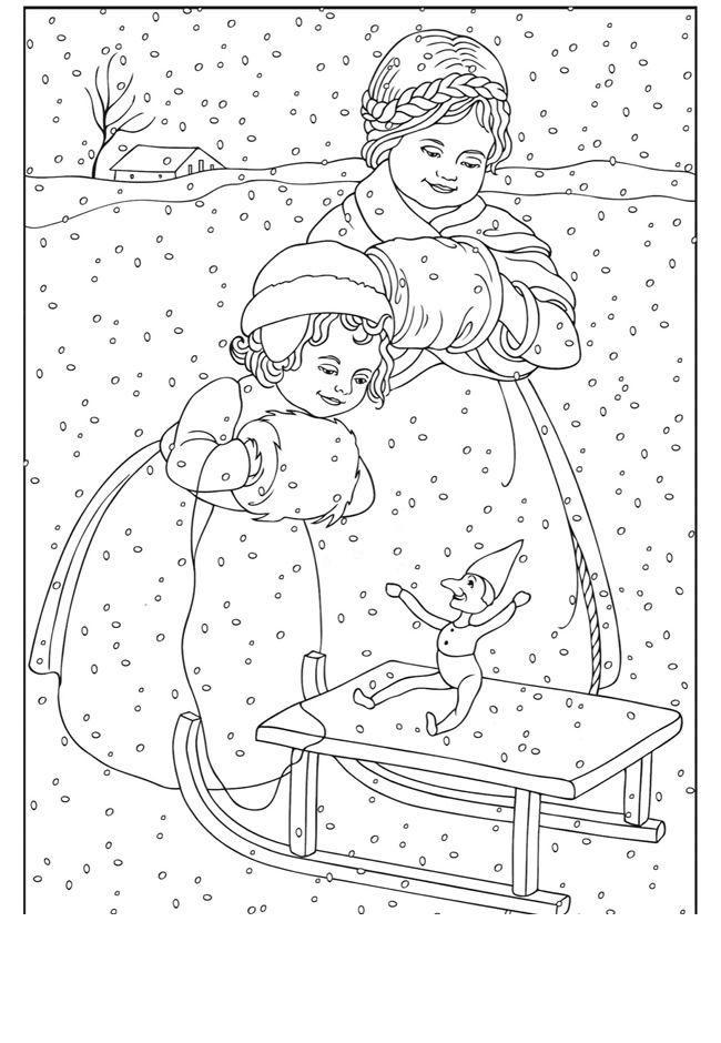 Новый год, маленький эльф Детские раскраски зима распечатать