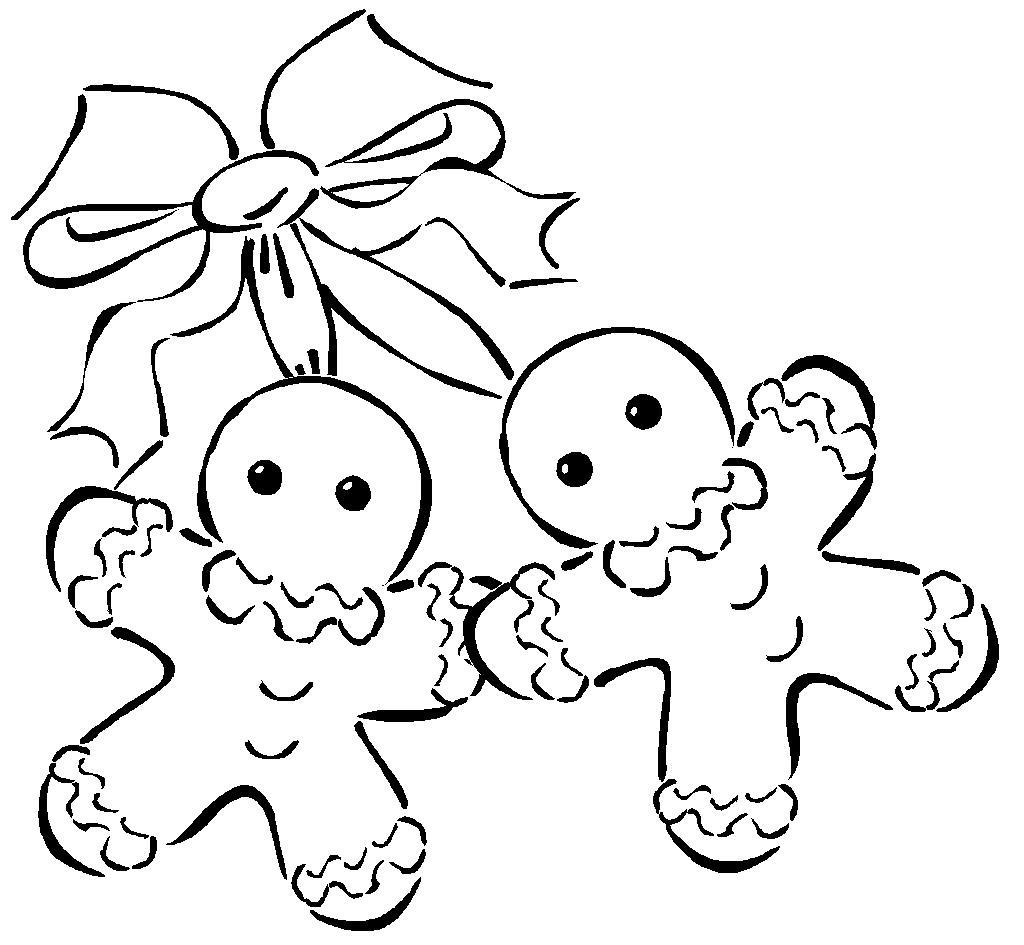 Новый год, пряничные человечки Раскраска зима распечатать