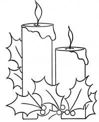 Новый год, широкие свечи Детские раскраски зима распечатать