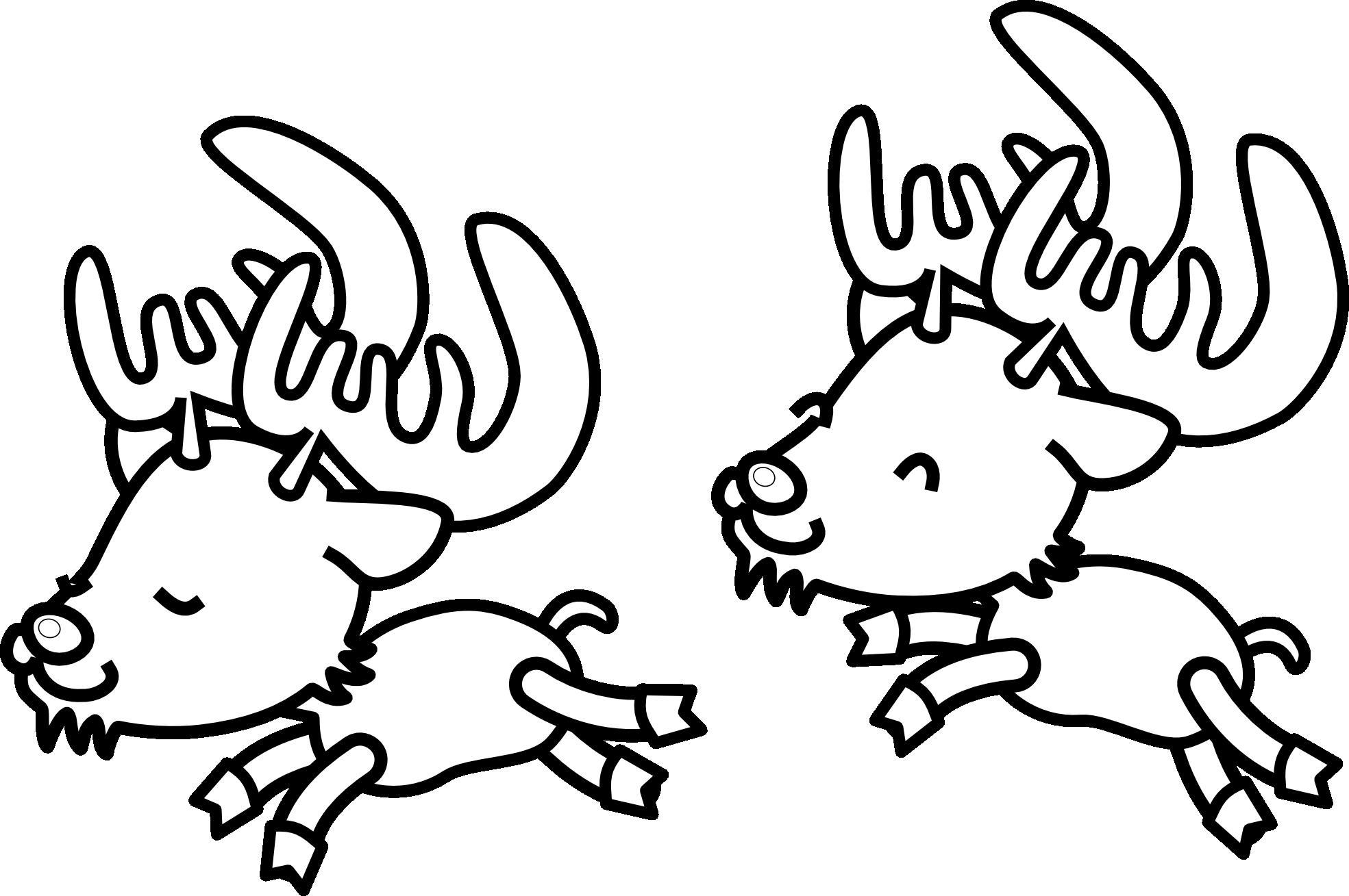 Новый год, бегущие олени Зимние раскраски для малышей