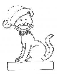 Кошка на новый год с бубенцами Детские раскраски зима распечатать