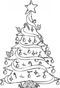 Красиво наряженная елочка к новому году Раскраски на тему зима