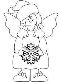 Ангел со снежинокй Детские раскраски зима распечатать