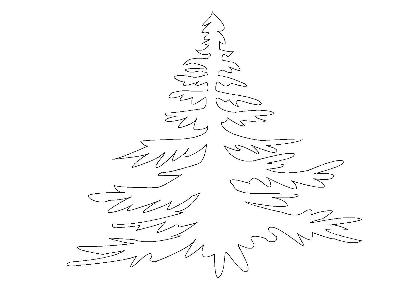 Контур елки Раскраски на тему зима