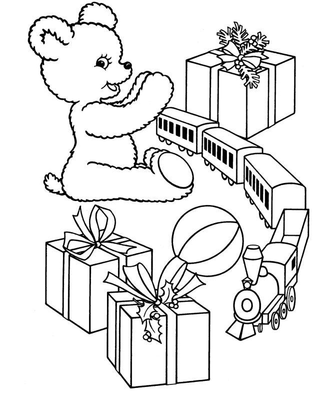 Подарки, поезд, плюшевый мишка Детские раскраски зима распечатать