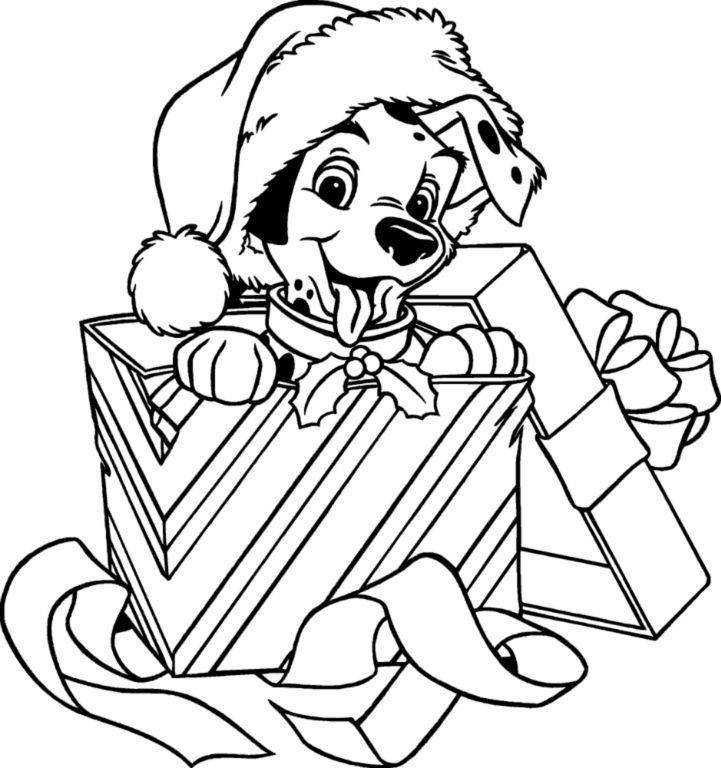 Долматинец в коробке собака Рисунок раскраска на зимнюю тему