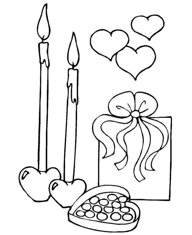 Подарки конфеты свечи сердечки Детские раскраски зима распечатать