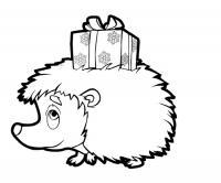 Ежик несет подарок Детские раскраски зима распечатать