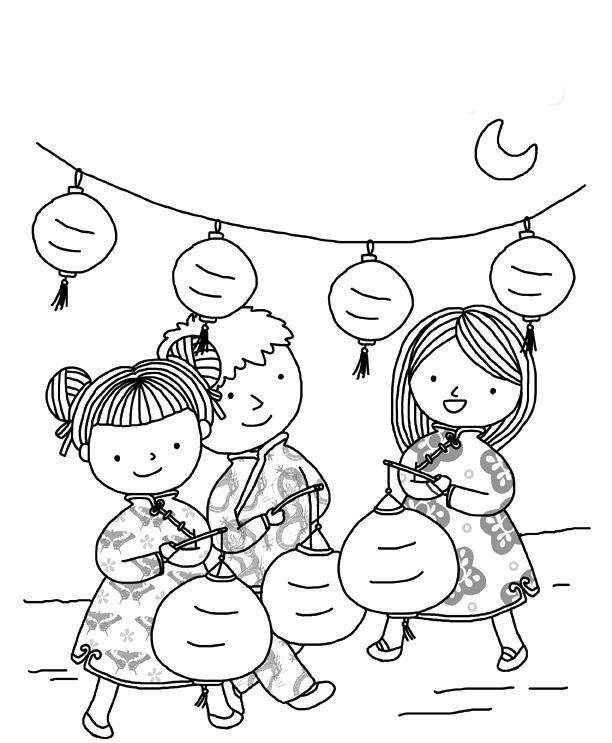 Новый год в китае Зимние рисунки раскраски
