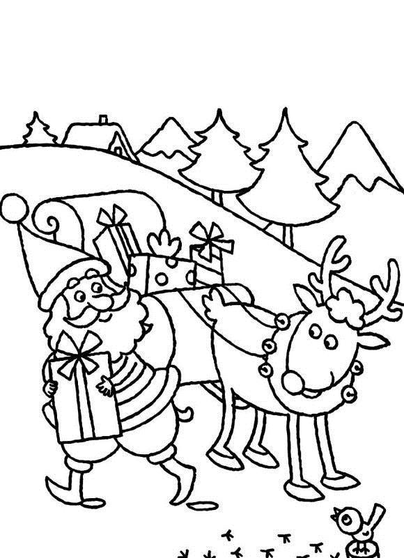 Дед мороз несет подарки Детские раскраски зима распечатать