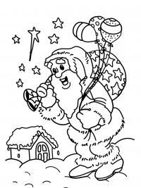 Дед мороз с подарками на улице Детские раскраски зима распечатать