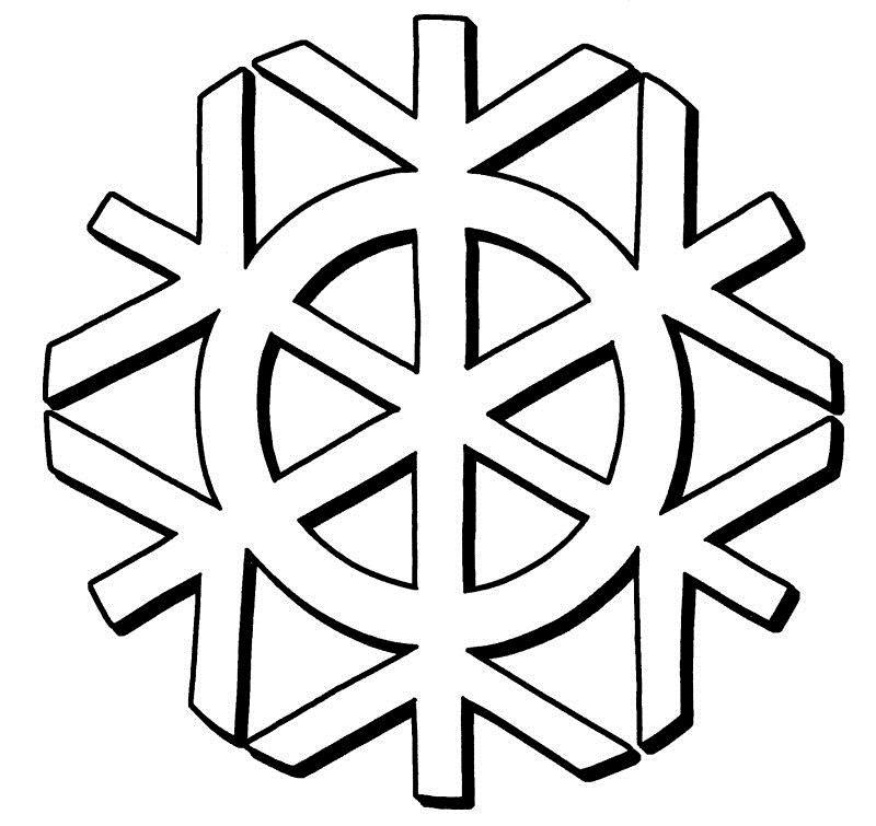 Снежинки с кругом Зимние рисунки раскраски