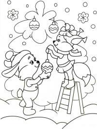 Бельчонок и зайчонок наряжают елку Детские раскраски зима распечатать