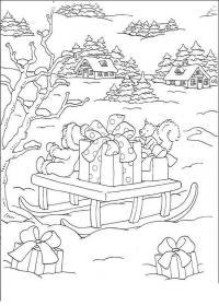 Подарки на санях Раскраска зима распечатать