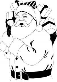Дед мороз смеется и несет подарки Раскраска зима пришла