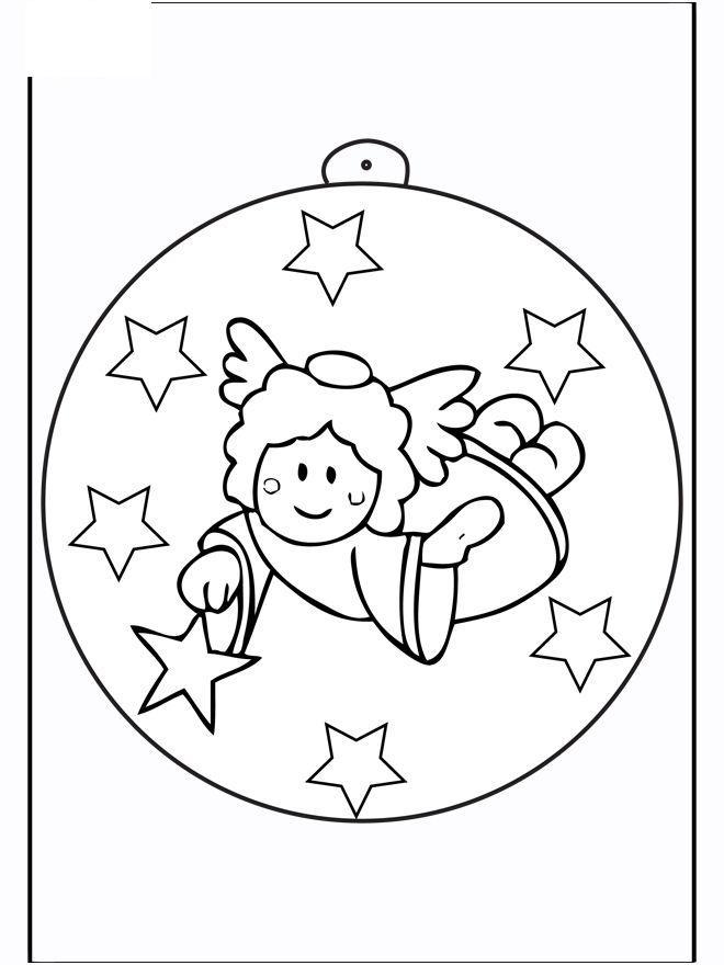 Елочные шары с ангелочком Детские раскраски зима распечатать