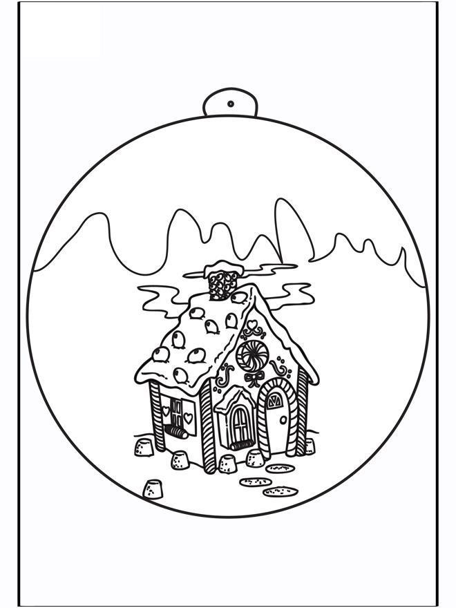 Елочный шар с избушкой Детские раскраски зима распечатать