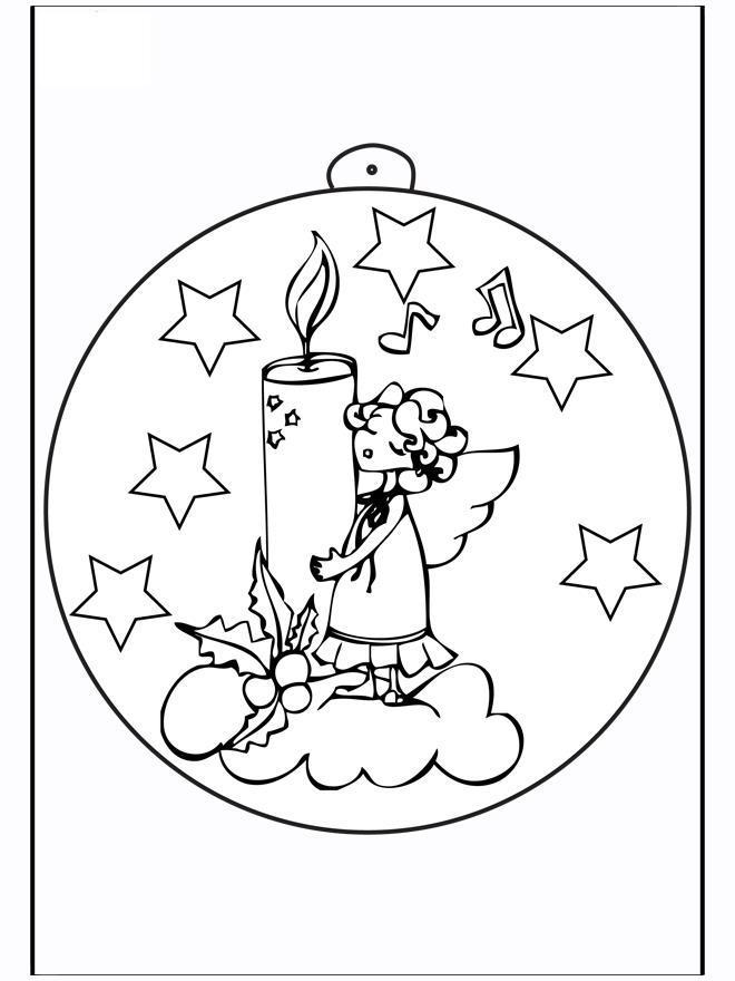 Елочный шар с ангелочком со свечкой Детские раскраски зима распечатать