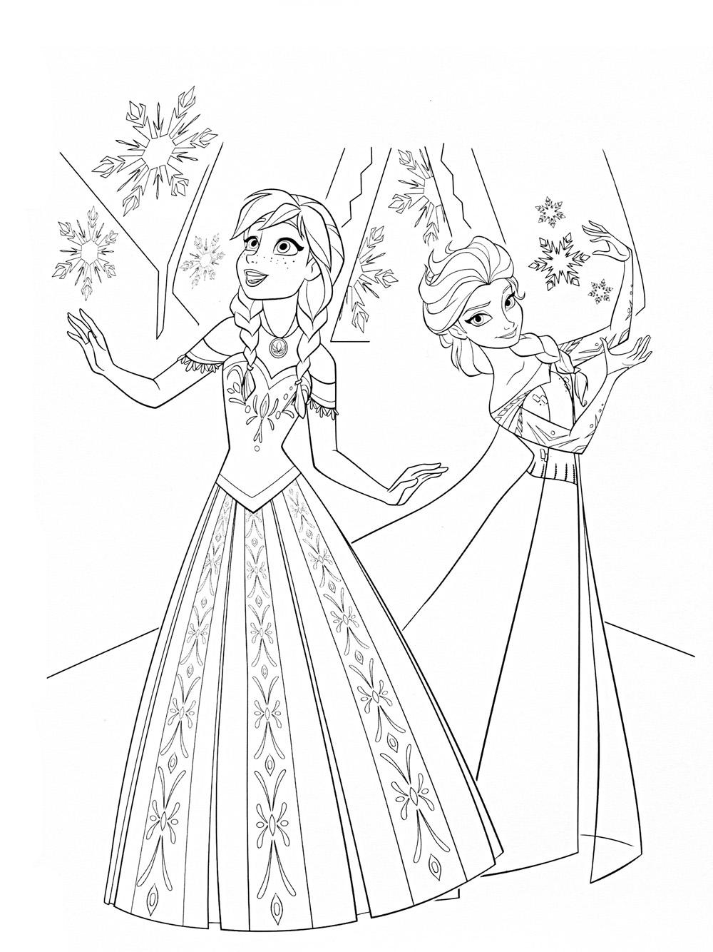 Холодное сердце, принцессы Раскраски зима скачать бесплатно