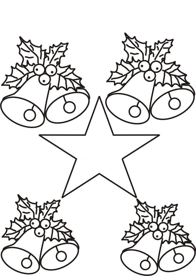 Колокольчики со звездочкой на открытку Зимние раскраски для малышей