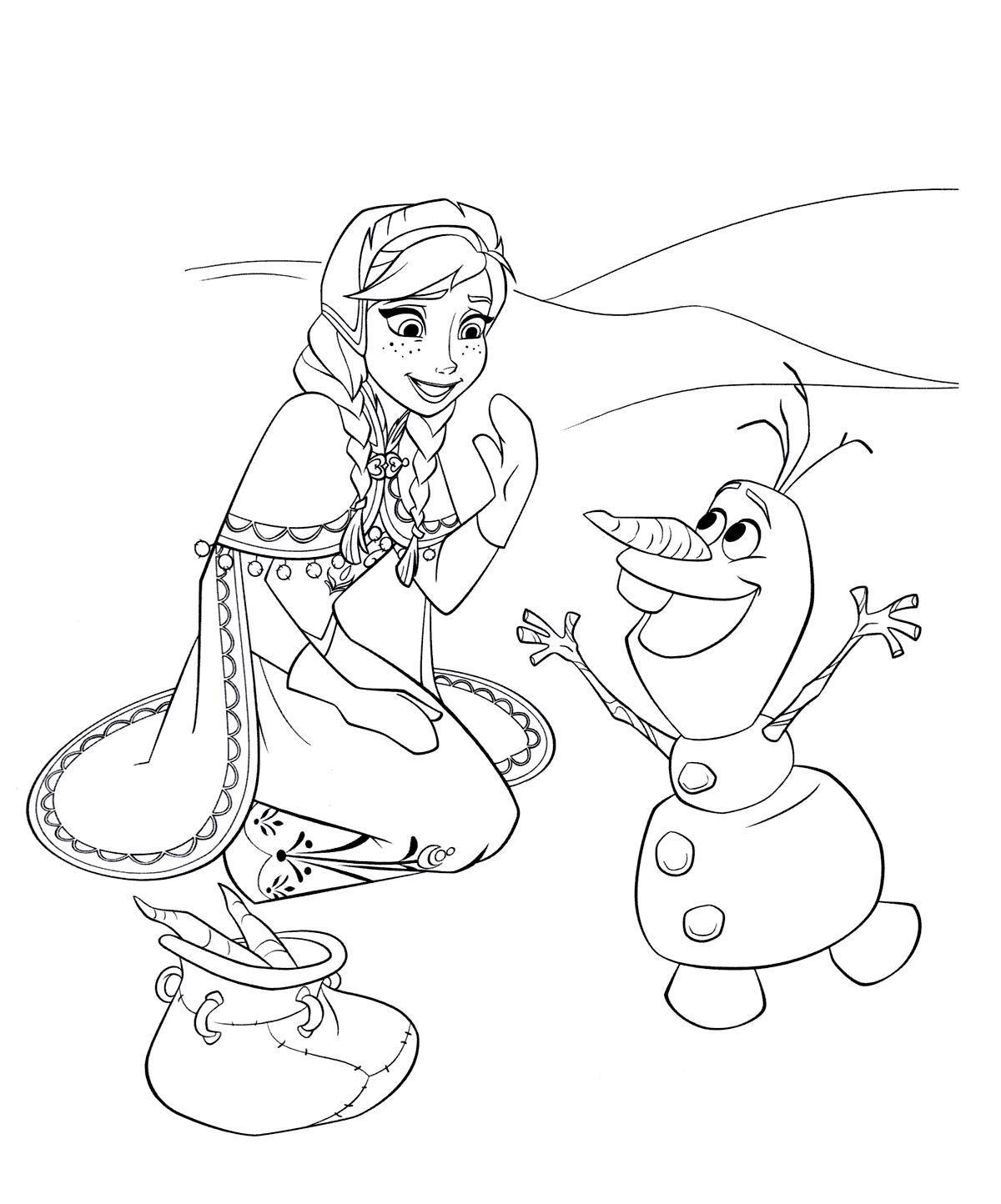Снеговик олаф и принцесса Раскраска зима распечатать