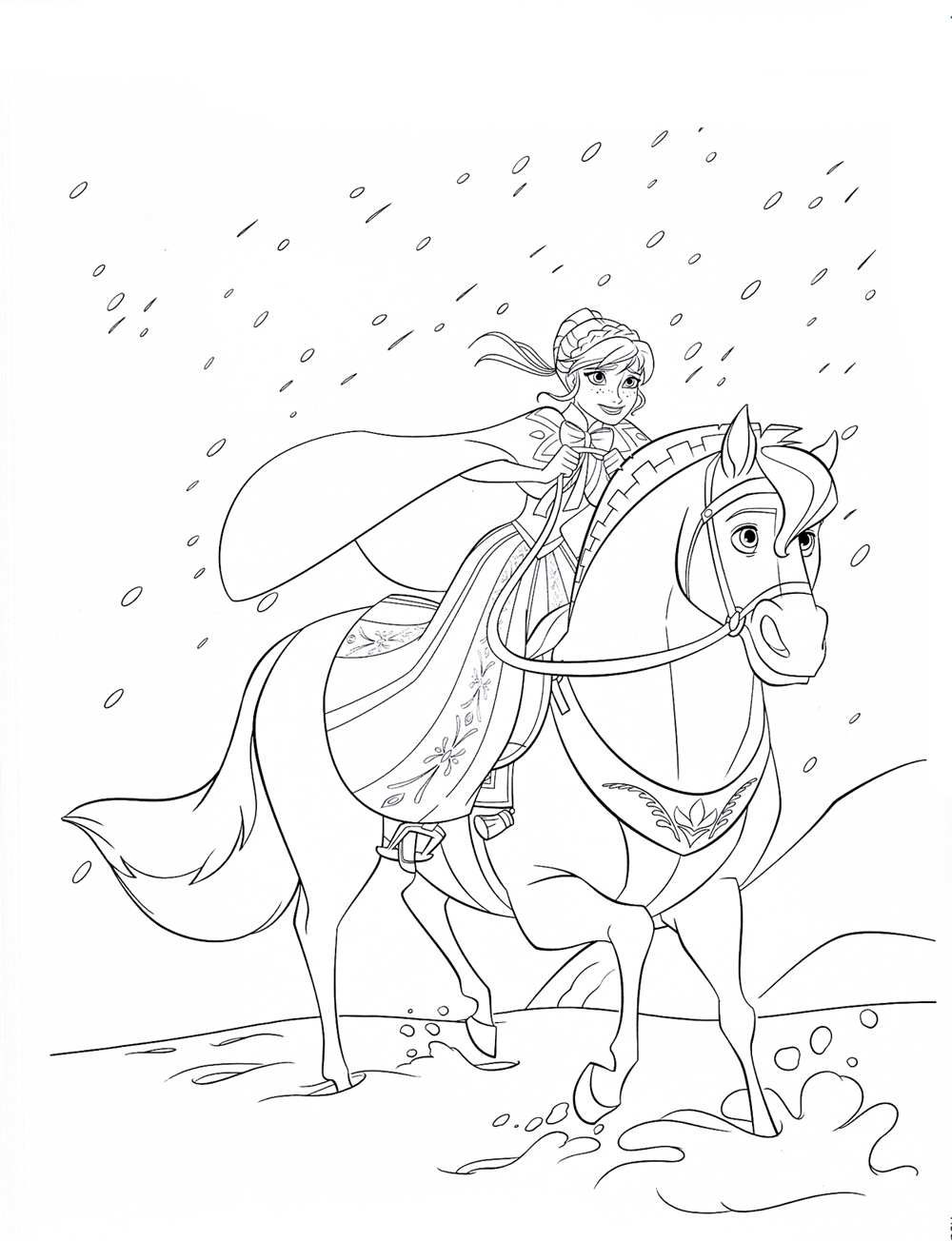 Принцесса на лошади Раскраски зима распечатать бесплатно