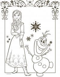 Снеговик олаф с принцессой для открыток Зимние раскраски для малышей