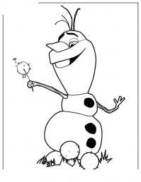 Снеговик олаф в одуванчиках Раскраска зима пришла