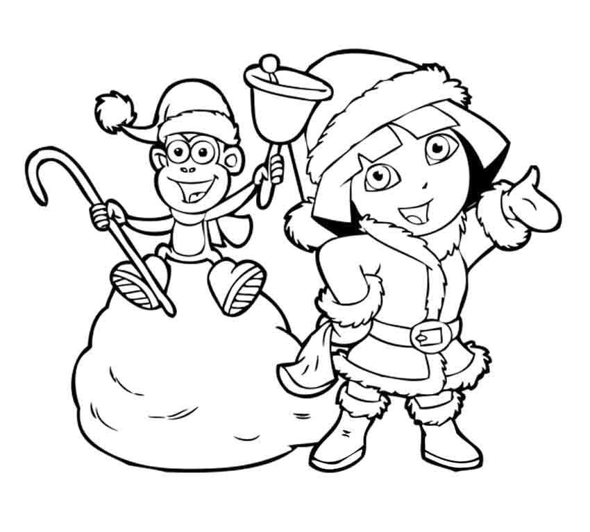 Дора в новый год с обезьянкой Зимние раскраски для мальчиков