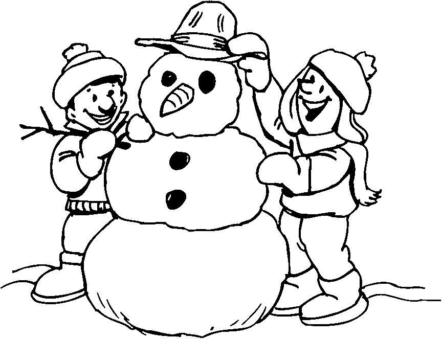 Лепим снеговика Рисунок раскраска на зимнюю тему