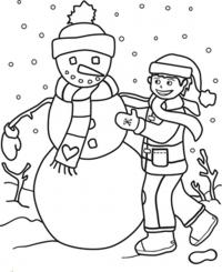 Снеговик в шарфике с сердечком Рисунок раскраска на зимнюю тему