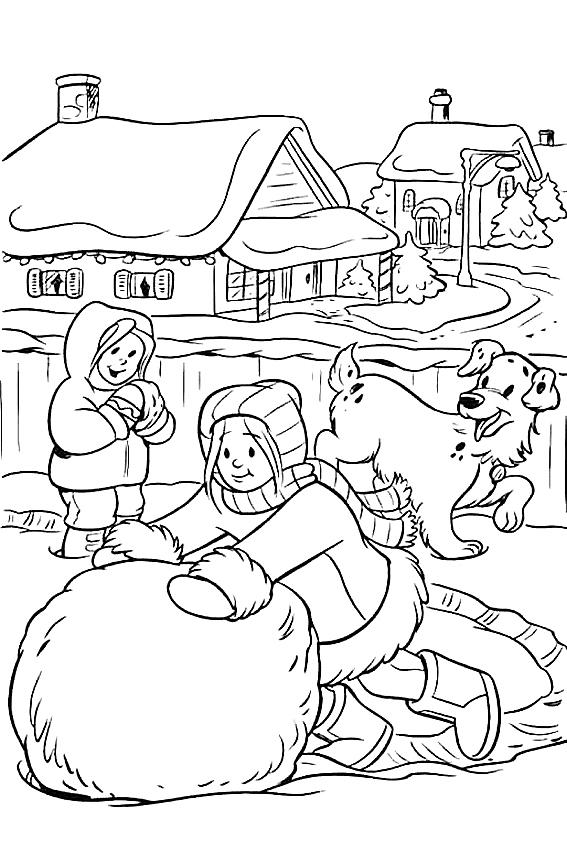 Дети лепят большого снеговика Рисунок раскраска на зимнюю тему