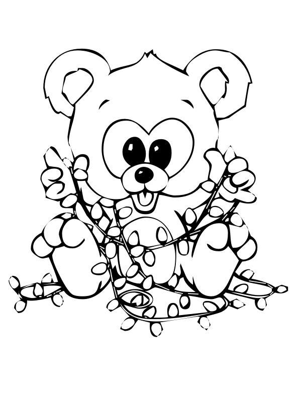 Новогодние открытки с медвежонком Детские раскраски зима распечатать