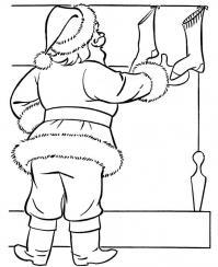 Рождественские чулки и санта клаус Раскраска зима пришла