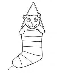 Носки для подарков с плюшевым мишкой Раскраски зима распечатать бесплатно