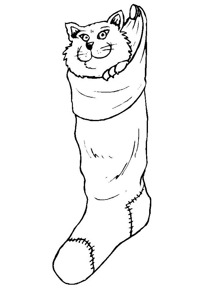Рождественские сапожки для подарков с котенком Раскраски зима распечатать бесплатно